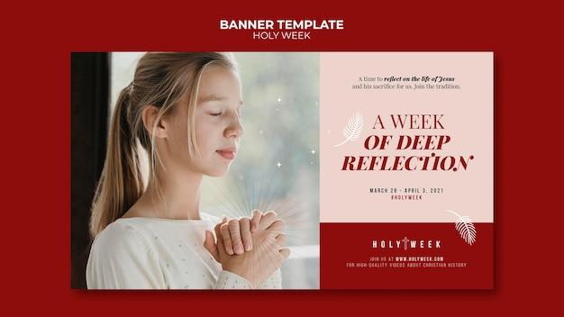 Plantilla de banner de semana santa con foto