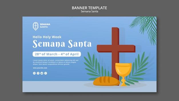 Plantilla de banner de semana santa ilustrada
