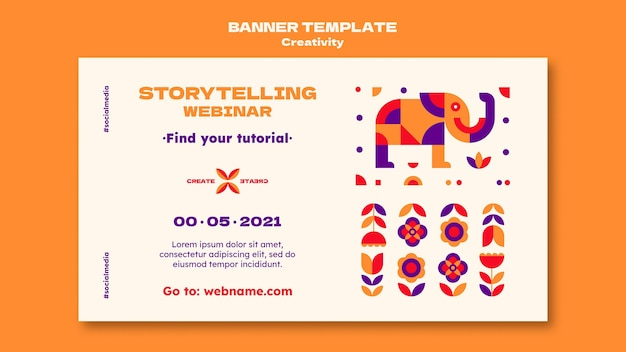Plantilla de banner de seminario web de creatividad
