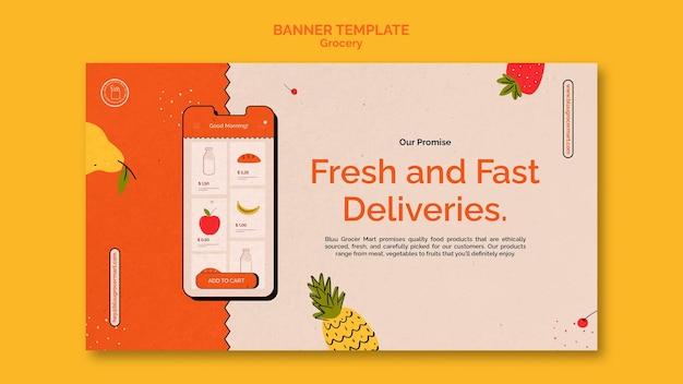 Plantilla de banner de servicio de entrega de comestibles
