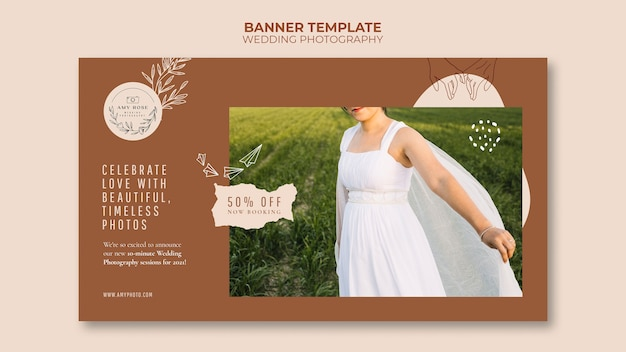 Plantilla de banner para servicio de fotografía de bodas.
