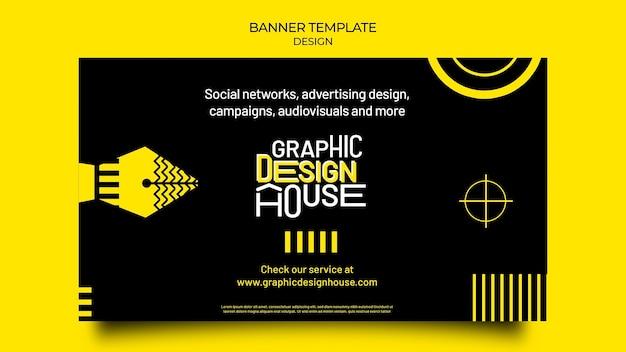 Plantilla de banner de servicios de diseño gráfico