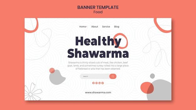 Plantilla de banner de shawarma saludable