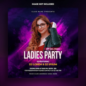 Plantilla de banner social de fiesta de damas