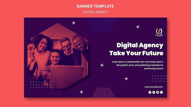 Plantilla de banner de soluciones de agencia digital