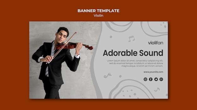 Plantilla de banner de sonido adorable violín