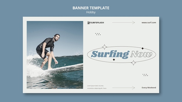 Plantilla de banner de splash y surf