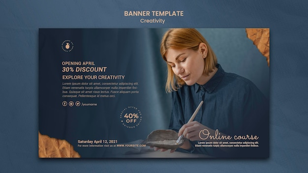 Plantilla de banner para taller de cerámica creativa con mujer
