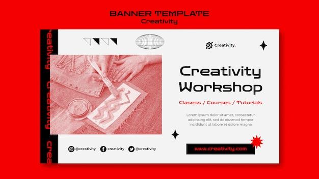 Plantilla de banner de taller de creatividad PSD gratuito
