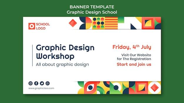 Plantilla de banner de taller de diseño gráfico