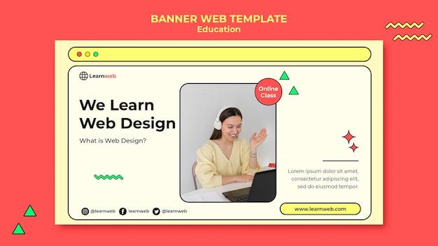 Plantilla de banner de taller de diseño web