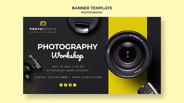 Plantilla de banner de taller de fotografía