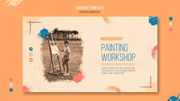 Plantilla de banner de taller de pintura con foto