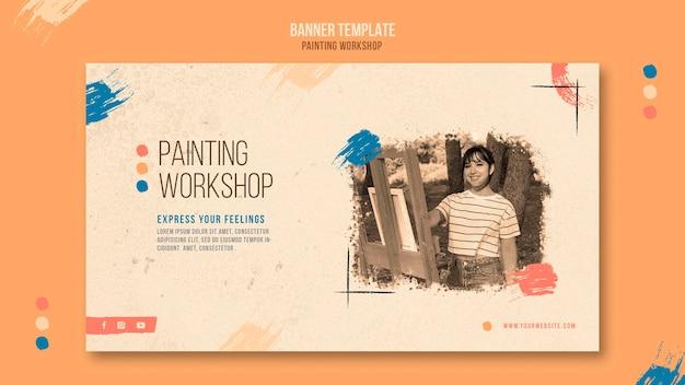 Plantilla de banner de taller de pintura