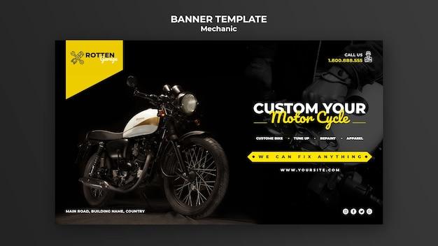 Plantilla de banner para taller de reparación de motocicletas