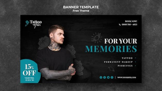 Plantilla de banner de tatuaje para tus recuerdos