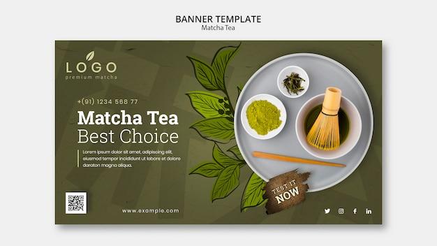 Plantilla de banner de té matcha con foto