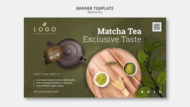 Plantilla de banner de té matcha con imagen