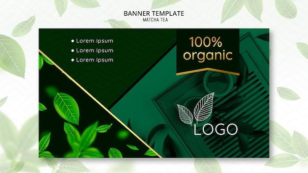 Plantilla de banner de té matcha orgánico