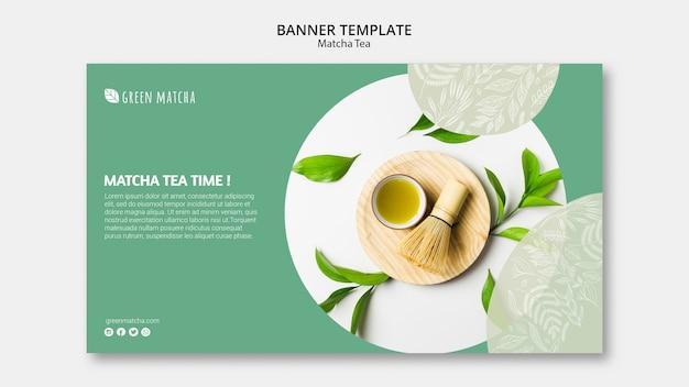 Plantilla de banner de té matcha saludable