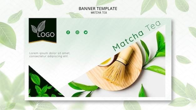 Plantilla de banner con té matcha