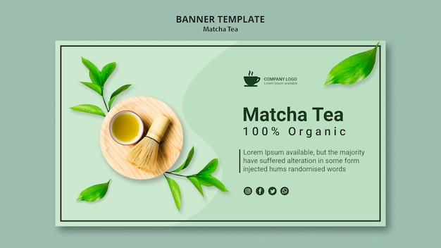 Plantilla de banner para té matcha