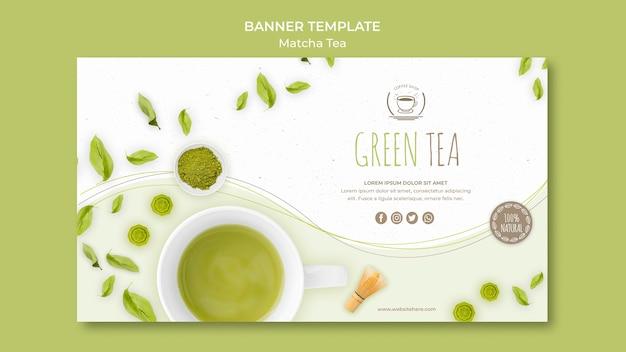 Plantilla de banner de té verde minimalista