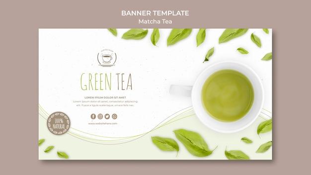 Plantilla de banner de té verde