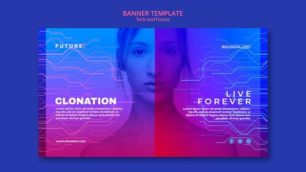 Plantilla de banner de tecnología y concepto futuro