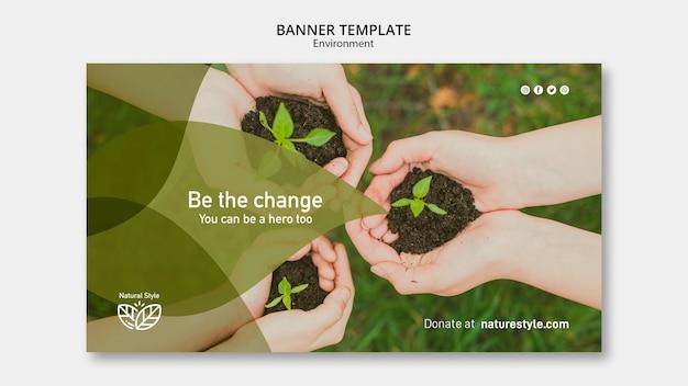 Plantilla de banner con tema ambiental