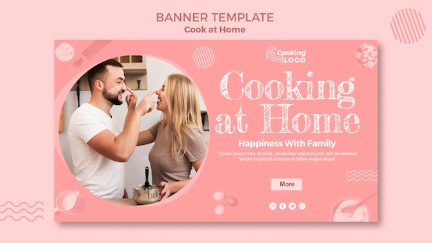 Plantilla de banner con tema de cocina en casa