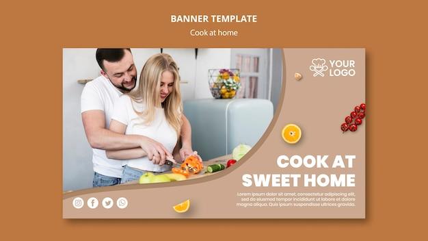 Plantilla de banner con tema de cocina