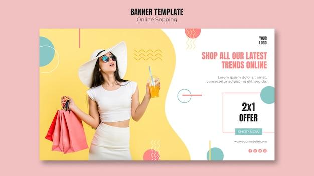 Plantilla de banner con tema de compras en línea