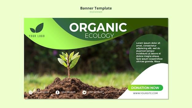 Plantilla de banner con tema de ecología orgánica