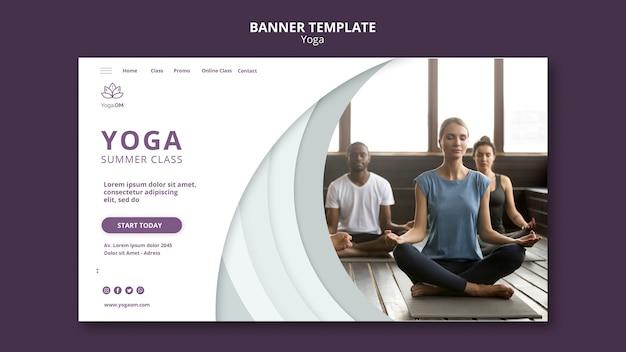 Plantilla de banner con tema de yoga