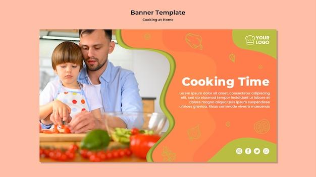 Plantilla de banner de tiempo de cocción padre e hijo
