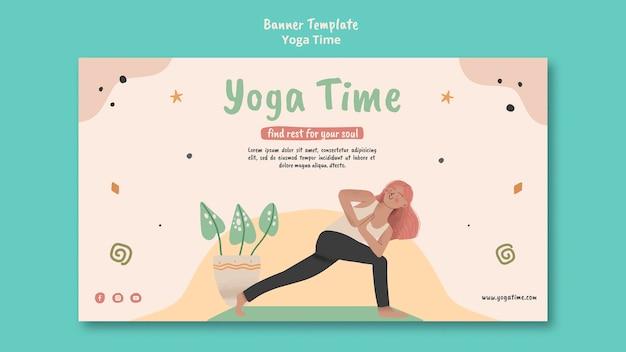 Plantilla de banner para tiempo de yoga
