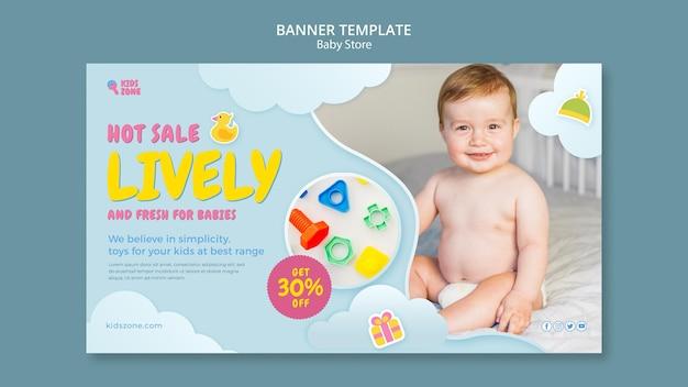 Plantilla de banner de tienda de bebés