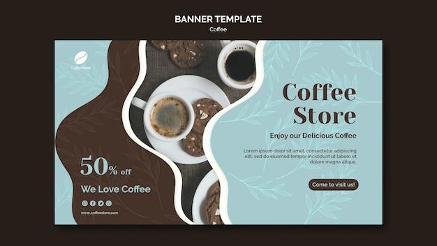 Plantilla de banner de tienda de café
