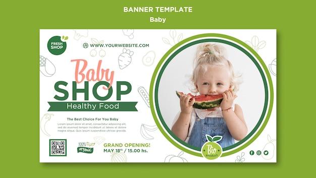 Plantilla de banner de tienda de comida para bebés