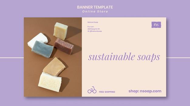 Plantilla de banner de tienda de jabón hecha a mano