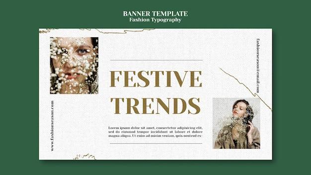 Plantilla de banner de tipografía de moda