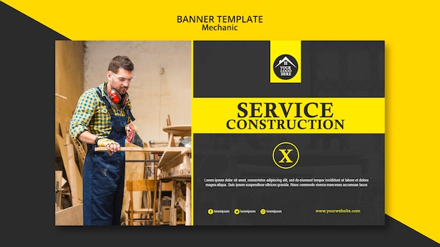 Plantilla de banner de trabajador manual de carpintero