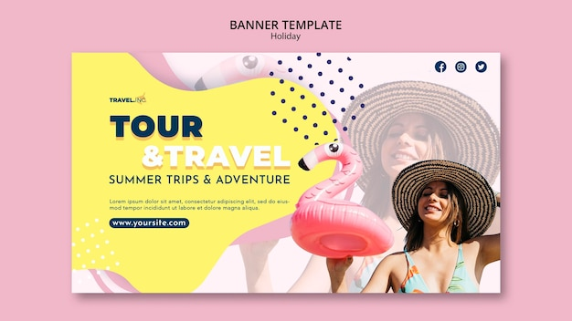 Plantilla de banner de vacaciones de viaje