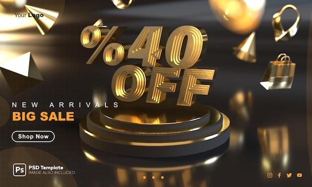 Plantilla de banner de venta dorada con 40% de descuento