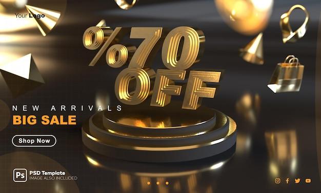 Plantilla de banner de venta dorada con 70% de descuento