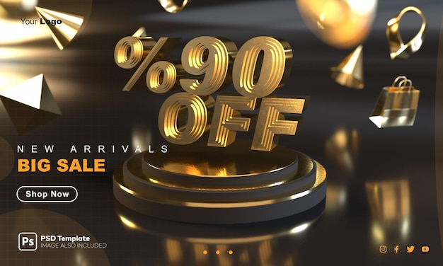 Plantilla de banner de venta dorada con 90 por ciento de descuento