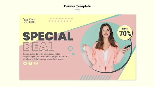 Plantilla de banner de venta especial de compras