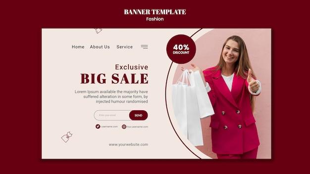 Plantilla de banner para venta de moda con mujer y bolsas de compras.