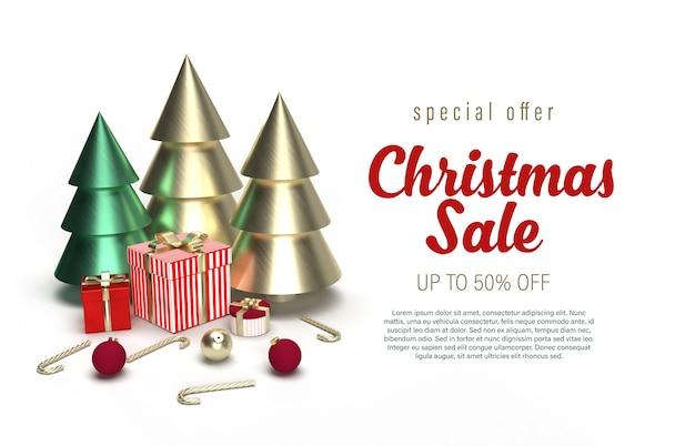 Plantilla de banner de venta de navidad con pinos, cajas de regalo y ornamentos